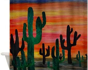 Desert Sunset Bathroom Art Shower Curtain