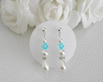 Lutece Pearl White light turquoise swarovski crystal and rhinestone earrings