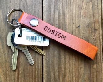 Leather Key Fob, Leather Keychain, Leather Key Holder, Custom Keychain, Keychain Leather, Personalized Keychain, Leather Key Ring