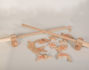 2 Fishing rods and 10 Sea creatures - Wooden Fishing Game - Set of 12 -Wooden Toy - Pretend Play