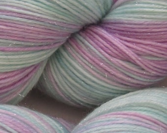 Magical sparkle yarn, on a merino wool, nylon and stellina 4ply sock yarn 100g skein