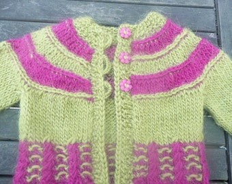 Knitting PATTERN Seamless Top Down Baby Girl CARDIGAN Jacket Sweater -  Tilda a top down seamless yoked cardigan