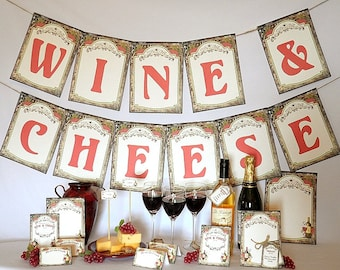 Wine & Cheese Printable Party Pack Kit Instant Download