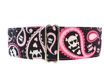 Skull Martingale Collar, 1.5 Inch Martingale Collar, Pink Martingale Collar, Paisley Martingale Collar, Paisley Dog Collar Skulls Dog Collar