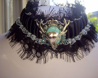 Gothic Steampunk Horned Raven Skull Turquoise Cameo Lace Blue Black Choker