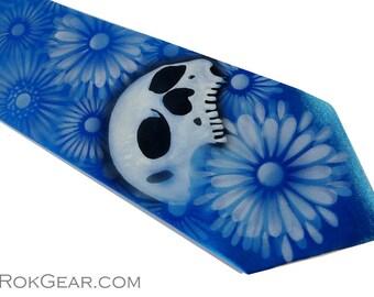 Mens custom one of a kind Skull tie hand painted by RokGear Azure Blue extra long microfiber necktie