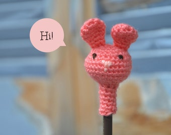 Amigurumi bunny pencil topper, crochet animal head pencil cozy
