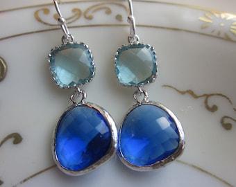 Cobalt Blue Earrings Aquamarine Silver Two Tier - Sterling Silver Earwires - Bridesmaid Earrings Wedding Earrings Bridal Earrings