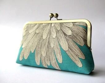 Reserved-Chrysanthemum  silk lined turquoise floral clutch , Bag Noir, Bridesmaid clutch, Weddings bride formal clutch purse
