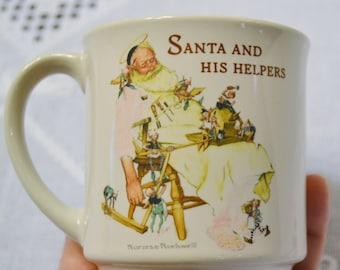 Vintage Hallmark Norman Rockwell Santas Helper Collectible Mug 1988 PanchosPorch