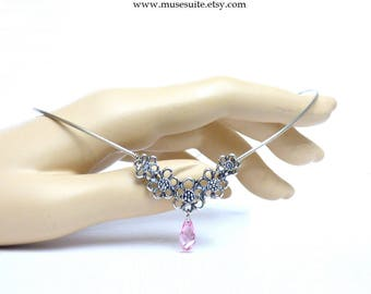 Elf crown in silver with swarovski elements light pink - Elven tiara - Celtic circlet