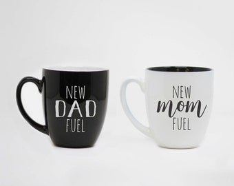Nouveau papa carburant, nouvelle maman carburant, nouveaux Parents, ensemble de tasse en céramique, fête des mères, fêtes des pères jour, cadeau des Parents, tasses en céramique mignon--27176-CM04-100