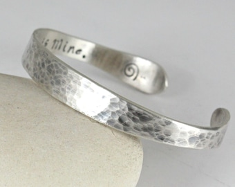 Personalized Sterling Silver bangle Bracelet.. Sterling silver Cuff.. Hammered Bangle.. Custom Bracelet.. Personalized Silver Bangle