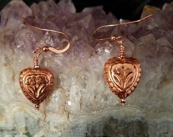 E1159 Real Copper Heart Earrings, Heart Earrings, Copper Earrings