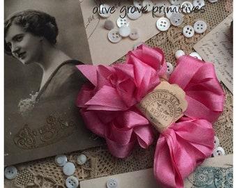 Seam binding ribbon 4 metres candy pink vintage style ribbon rayon seam binding ribbon by olive grove primitives