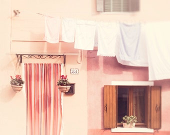 Blush Pink, Wall Art Prints, Burano Photograph, Venice Italy Decor, pastel, peach, white home decor, muted tones, laundry room, nursery art