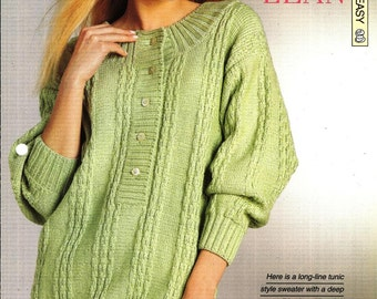"Knitting pattern - Woman's ""Long and Lean"" tunic-style sweater - Instant download"