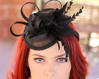 Black Tea Party Hat Fascinator - Kentucky Derby Hat - Wedding Hat - English High Tea Hat