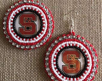 NC State Bead Embroidered Earrings Native American  Free Shipping Available
