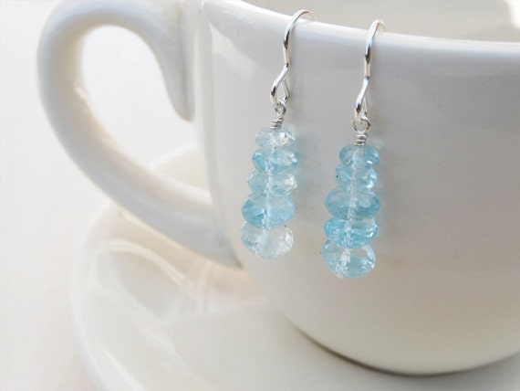 Sky Blue Topaz & Silver Drop Earrings - Sterling Silver