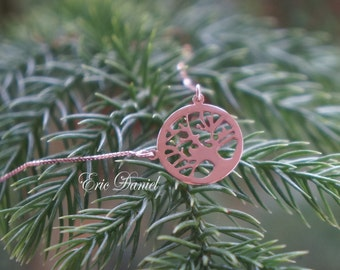14k Tree of Life Necklace in Rose Gold, Gold Family Tree Necklace, Handmade, Tree of Life, Family Necklace, Gold Tree of Life, Rose Tree