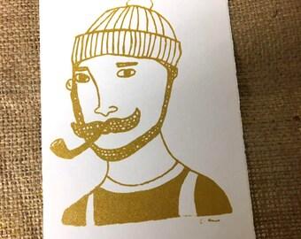 Screen printing postcard with sailor motif Jan (Gold)