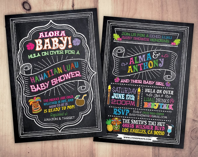 Aloha Baby Shower Invitation, Luau Baby Shower Invitation, Pineapple Invitation, Luau Invitation, Hawaiian Baby Shower Invitation, Tiki