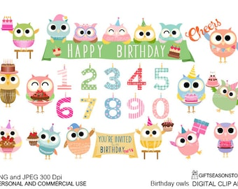 Birthday owls digital clip art for Personal and Commercial use - INSTANT DOWNLOAD