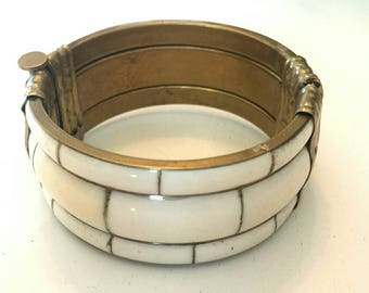 Vintage Brass Genuine Bone Mosaic Bangle Bracelet A