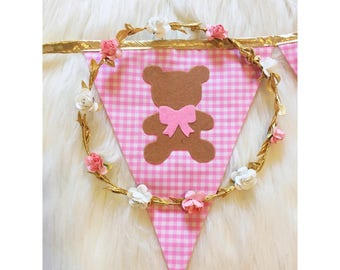 Pink and gold teddy bear picnic Fabric bunting banner