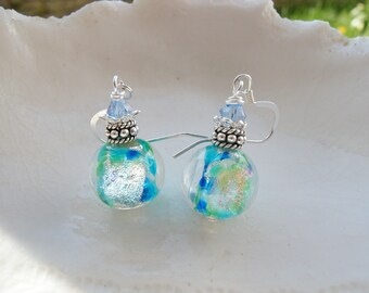 Blue Dichroic Murano Glass Earrings