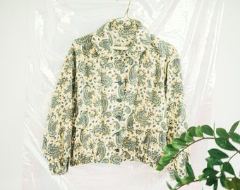 Womens Paisley Long Sleeve Collared Top