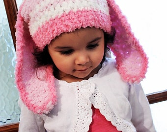 12 to 24m Girl Baby Bunny Hat Pink Stripe Hat Crochet Girl Toddler Hat in Candy Pink White Baby Pink Rabbit Baby Hat Photo Prop