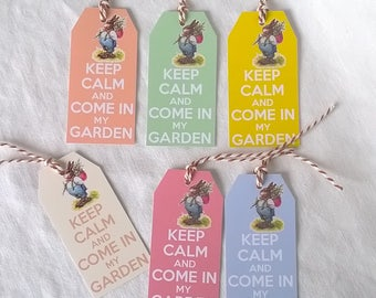 """6 Easter tags """"Keep Calm and come in my garden"""""""