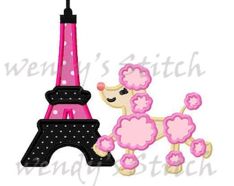 Eiffel tower poodle applique macine embroidery design instant download
