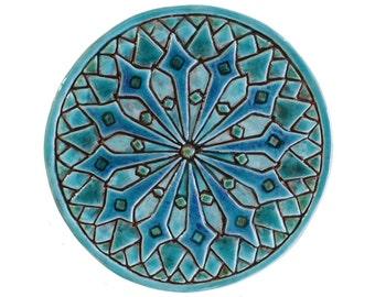 Moroccan wall hanging, Moroccan tile garden art, Moroccan Wall art, Moroccan, turquoise 21cm