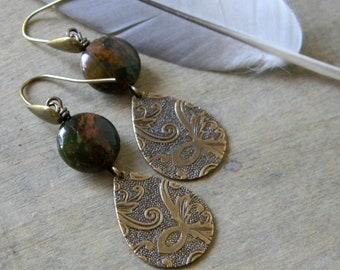 Teardrop earrings gemstone jewelry embossed earrings classic jewelry simple earrings earthy dangle earrings songbird cabin designs bohemian