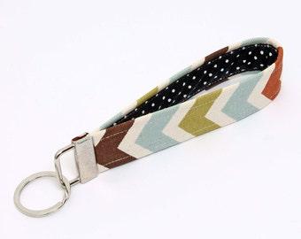 Fabric Key fob, fabric keychain wristlet, keyring, key lanyard - blue, green, rust, brown, natural chevron with black and white polka dot