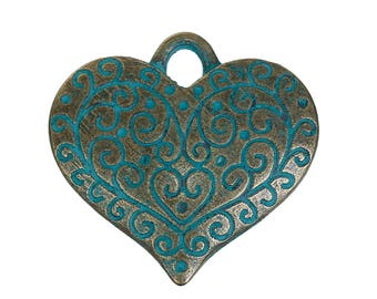 Antique Bronze/Blue Patina Heart Pendant (27mm)