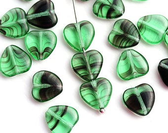 10mm Green Heart beads, Striped Green czech glass pressed beads, green and black 20Pc - 2685
