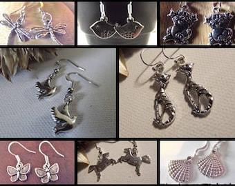 Silver earrings for children animals Dragonfly bird cat horse shell St James