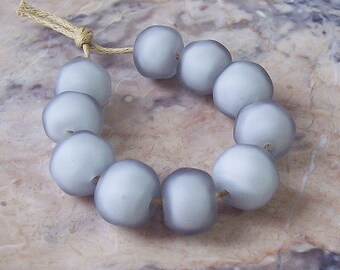 Light Grey Matte Finish Organic Lampwork Beads (10 pcs). Grey Lampwork Beads. Frosted Lampwork Beads. Etched Glass Beads. Made to order.
