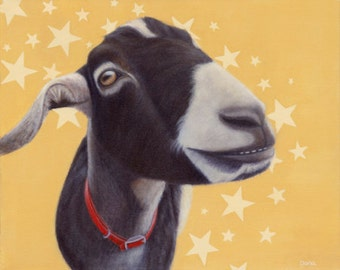 Goat Magnet - Black and White Goat - Funny Animal Magnet - Proceeds Benefit Animal Charity