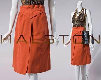 70s Halston burnt orange ultra suede wrap skirt | size small