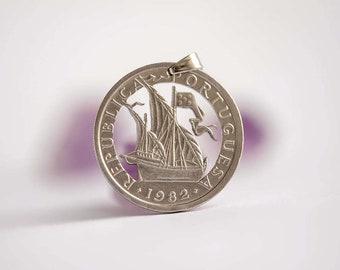 Portugal Cut Coin Necklace. 5 Escudos, 1982. Caravel