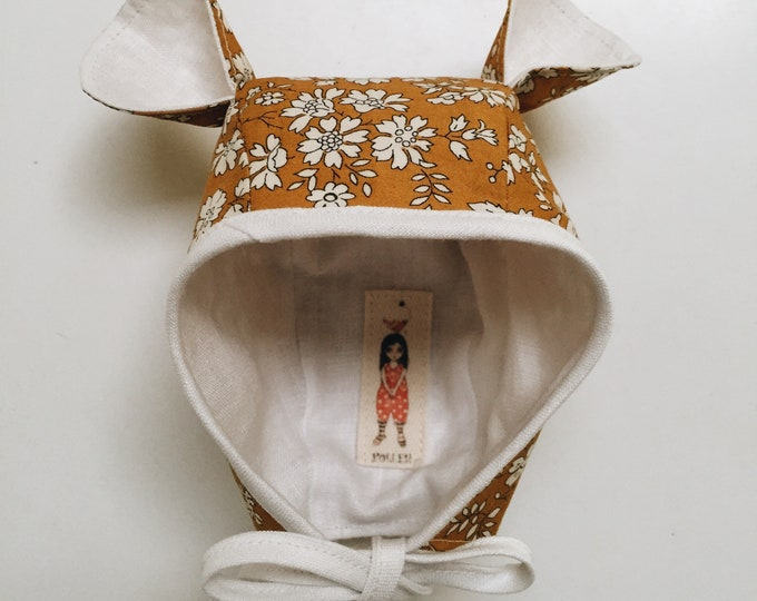 LIBERTY DOLL BONNET constructed in Liberty Art Fabric Capel G (mustard) - doll clothing- Miniland dolls
