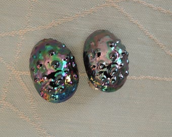 Mid Century Iridescent Art Glass Clip On Earrings Signed Bergere