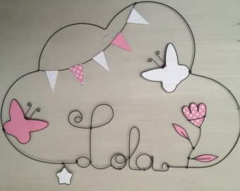 Name personalized wire - Flower Butterfly and Star - Kids decor by Chacha stars