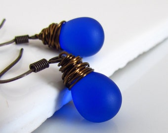 Frosted Cobalt Blue Czech Glass Earrings, Antiqued Brass Wire Wrapped Teardrop Earrings