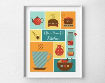Custom Kitchen Print, Kitchen Decor, Retro Kitchen Poster, Wall Art, Custom Kitchen Sign, Kitchen Art, 0058